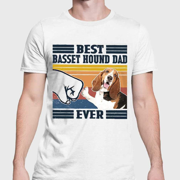 Father's Day Best Basset Hound Dad Ever Vintage T-shirt S By AllezyShirt