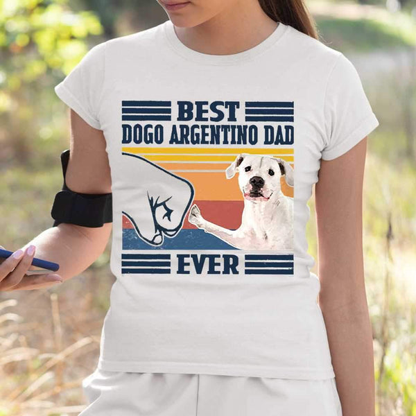 Father's Day Best Dogo Argentino Dad Ever Vintage T-shirt S By AllezyShirt