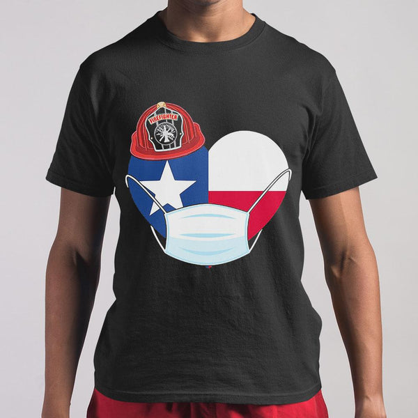 Firefighter Flag Of Texas Covid-19 2020 T-shirt M By AllezyShirt