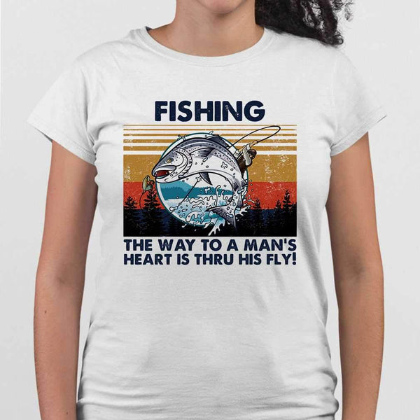 Fishing The Way To A Man's Heart Is Thru His Fly Vintage Retro T-shirt S By AllezyShirt
