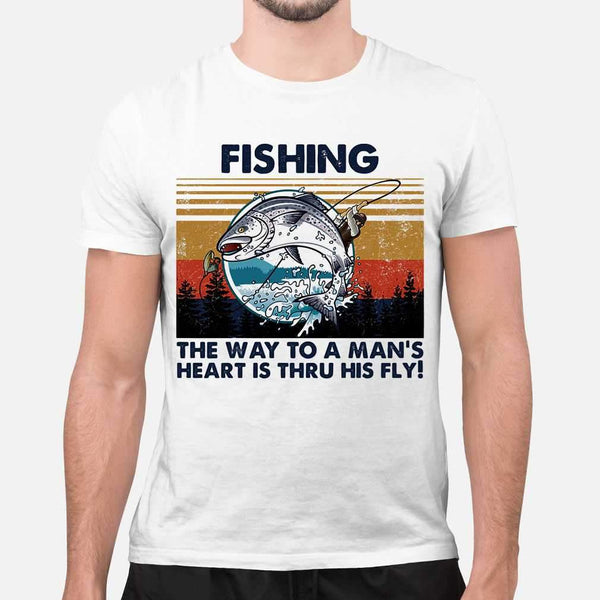 Fishing The Way To A Man's Heart Is Thru His Fly Vintage Retro T-shirt M By AllezyShirt