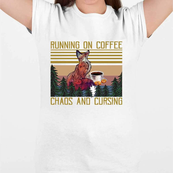 Fox Coffee Lovers Running On Coffee Chaos And Cursing Vintage T-shirt M By AllezyShirt