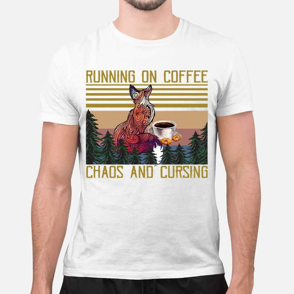 Fox Coffee Lovers Running On Coffee Chaos And Cursing Vintage T-shirt S By AllezyShirt