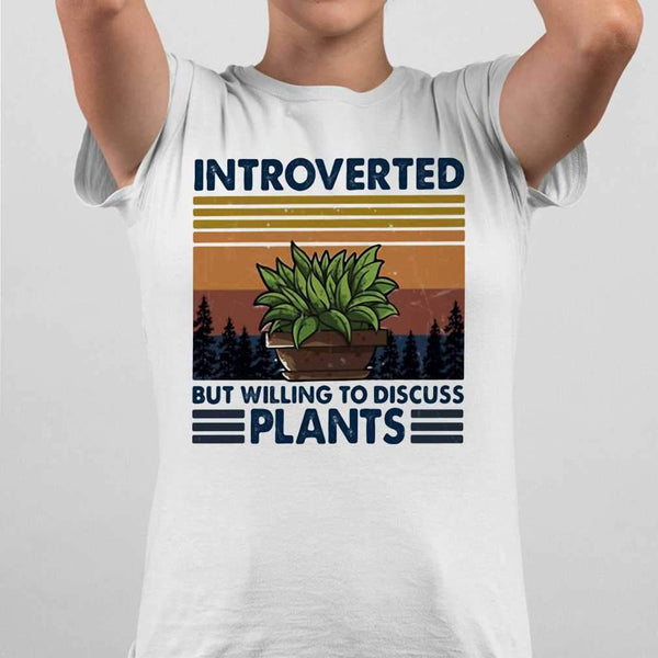Garden Introverted But Willing To Discuss Plants Vintage Retro T-shirt M By AllezyShirt