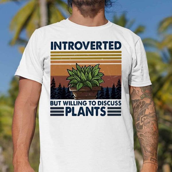 Garden Introverted But Willing To Discuss Plants Vintage Retro T-shirt S By AllezyShirt