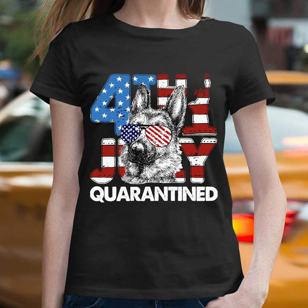 German Shepherd 4Th Of July Merica Quarantined Gifts Funny T-shirt M By AllezyShirt