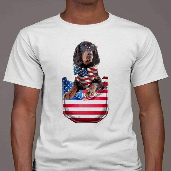 Gordon Setter Pocket American Flag Independence Day T-shirt M By AllezyShirt
