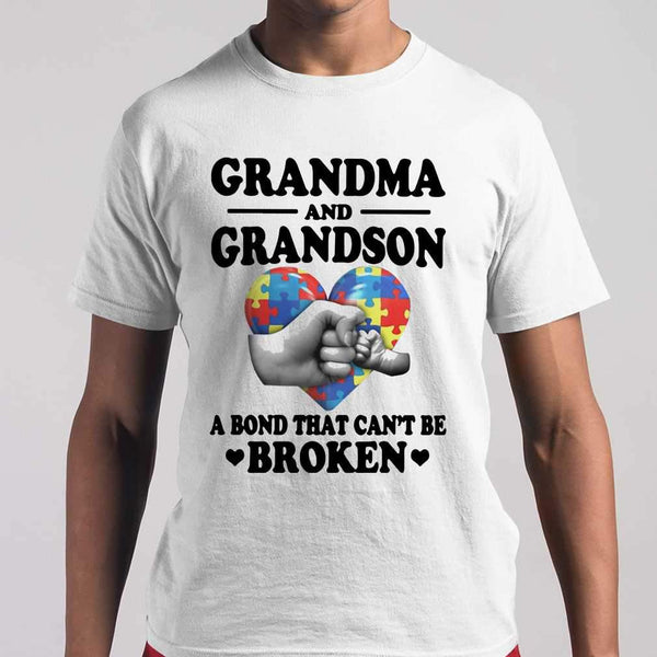 Grandma And Grandson A Bond That Can't Be Broken Autism Awareness T-shirt S By AllezyShirt