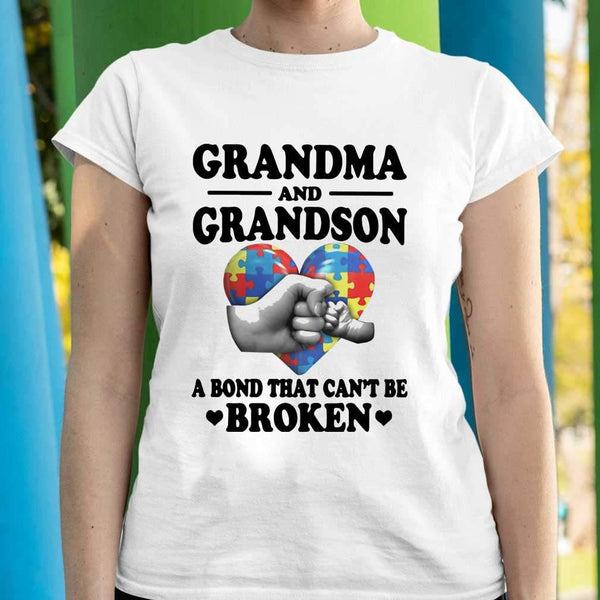 Grandma And Grandson A Bond That Can't Be Broken Autism Awareness T-shirt M By AllezyShirt