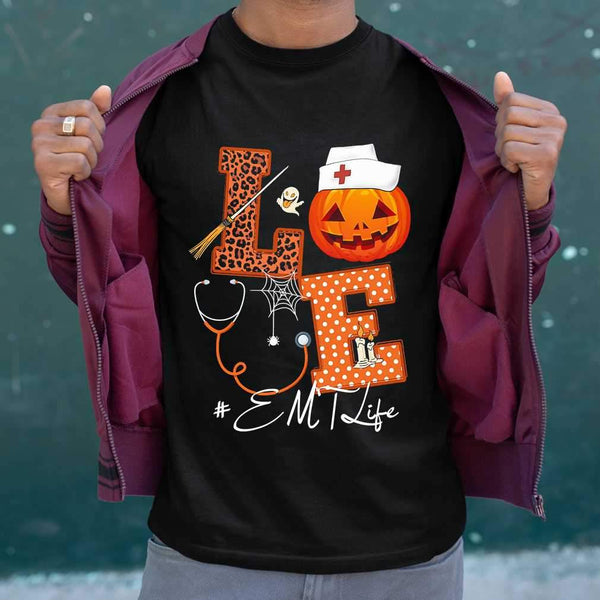 Halloween Pumpkin Love Emt Life T-shirt S By AllezyShirt