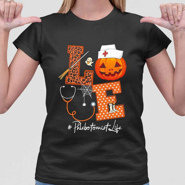 Halloween Pumpkin Love Phlebotomist Life T-shirt M By AllezyShirt