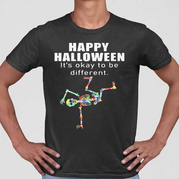 Happy Halloween It's Okay To Be Different Hip Hop Skeleton Autism T-shirt M By AllezyShirt