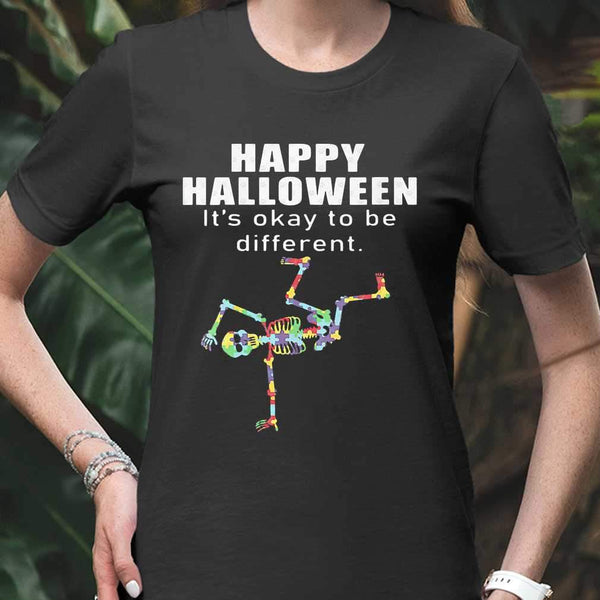 Happy Halloween It's Okay To Be Different Hip Hop Skeleton Autism T-shirt S By AllezyShirt