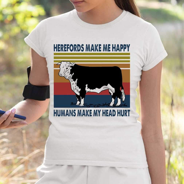Herefords Make Me Happy Humans Make My Head Hurt Farm Vintage T-shirt S By AllezyShirt
