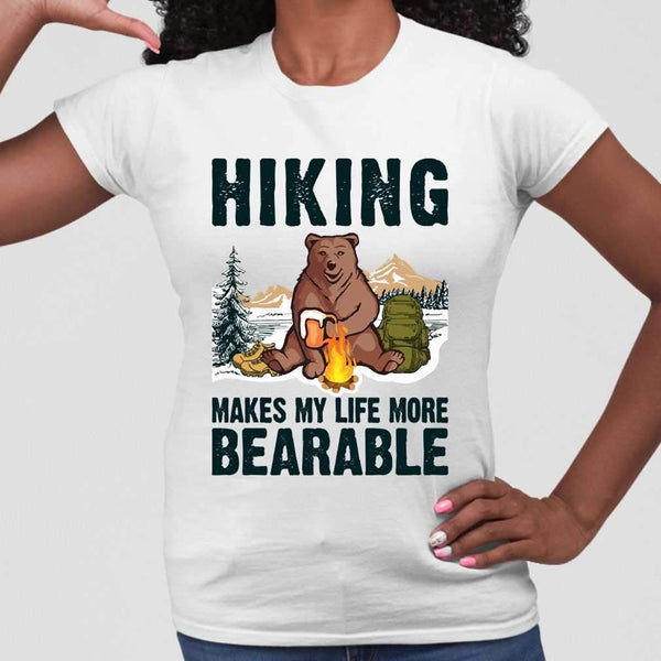 Hiking Makes My Life More Bearable Sarcasm Beer T-shirt M By AllezyShirt