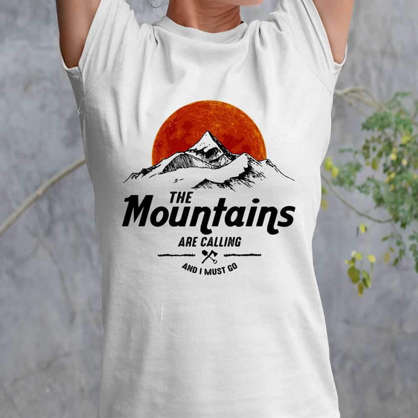 Hiking The Mountains Are Calling And I Must Go Sunshine T-shirt M By AllezyShirt