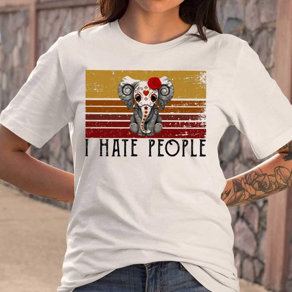 Hippie Elephant I Hate People Vintage Retro T-shirt S By AllezyShirt
