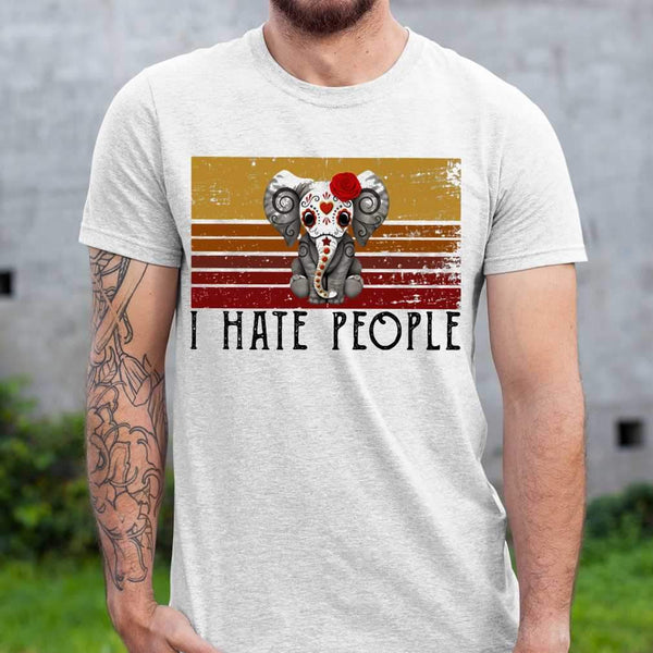 Hippie Elephant I Hate People Vintage Retro T-shirt M By AllezyShirt