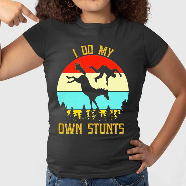 Horse Equestrian I Do My Own Stunts Vintage Retro T-shirt S By AllezyShirt