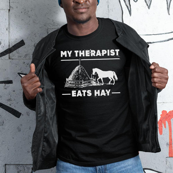 Horse My Therapist Eats Hay 2020 Black Shirt S By AllezyShirt
