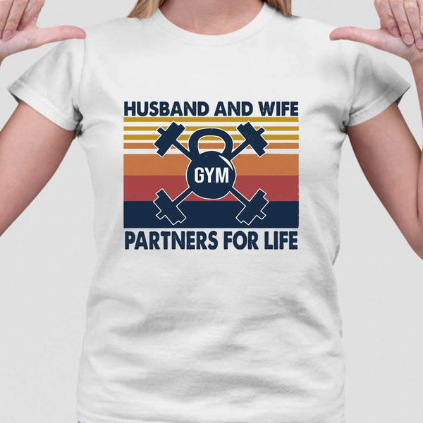 Husband And Wife Gym Partners For Life T-shirt M By AllezyShirt