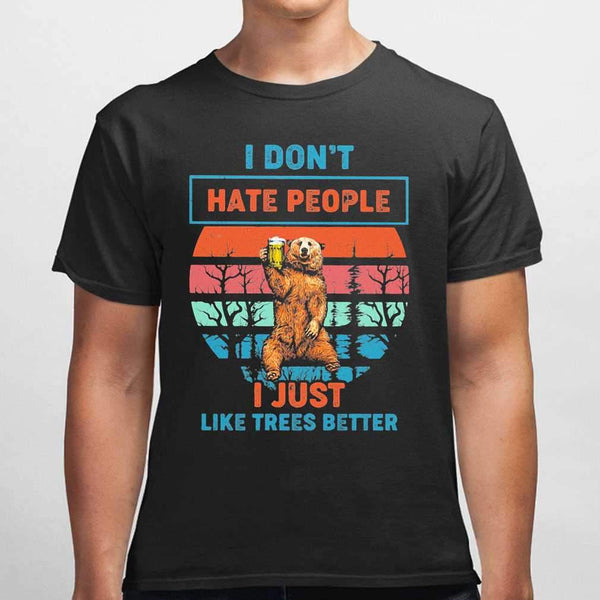 I Don't Hate People I Just Like Trees Better Bear Beer Vintage Retro T-shirt S By AllezyShirt