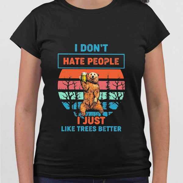 I Don't Hate People I Just Like Trees Better Bear Beer Vintage Retro T-shirt M By AllezyShirt