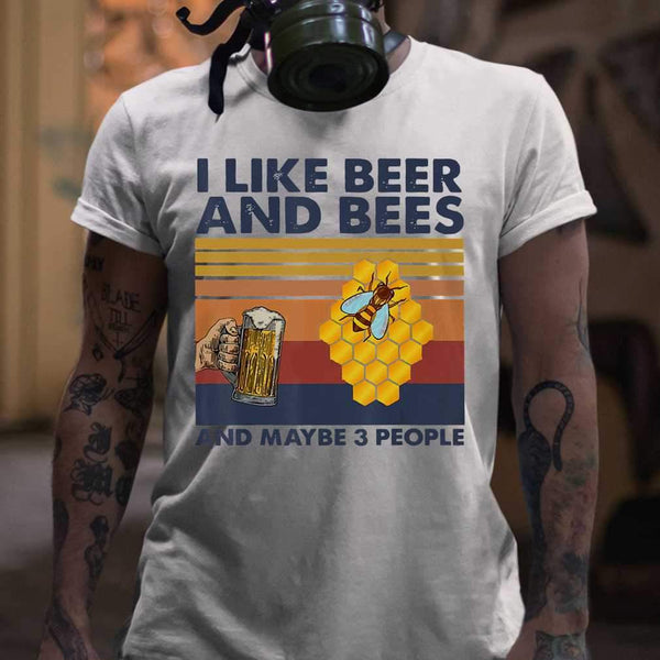 I Like Beer And Bees Maybe 3 People Vintage Retro Shirt T-shirt S By AllezyShirt