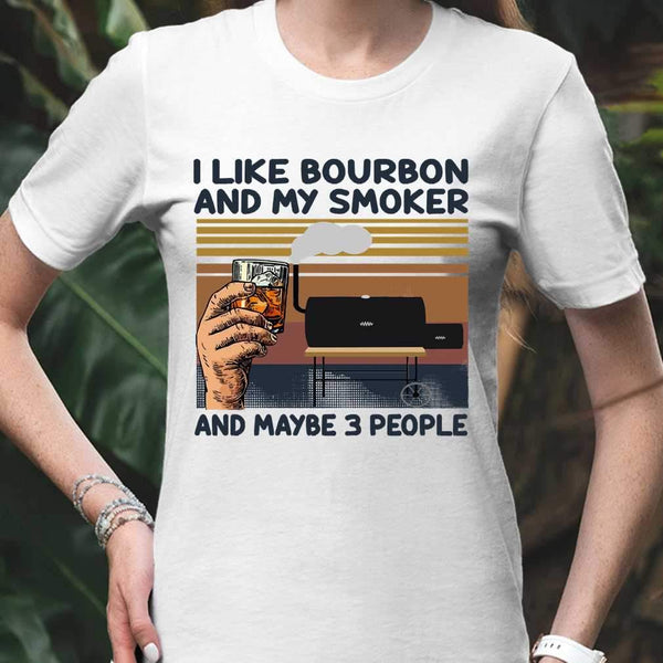 I Like Bourbon And My Smoker And Maybe 3 People Wine Vintage Retro T-shirt M By AllezyShirt
