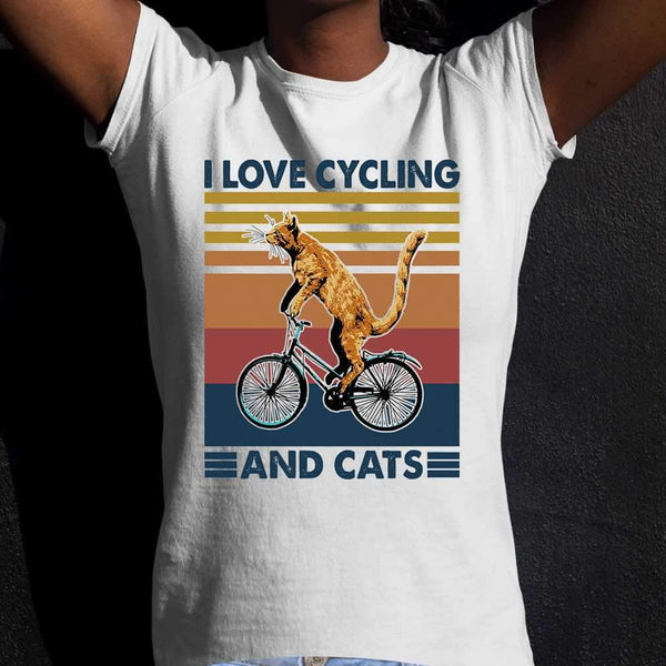 I Love Cycling And Cats Vintage Retro T-shirt S By AllezyShirt