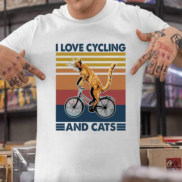 I Love Cycling And Cats Vintage Retro T-shirt M By AllezyShirt