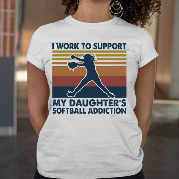 I Work To Support My Daughter's Softball Addiction Vintage T-shirt M By AllezyShirt