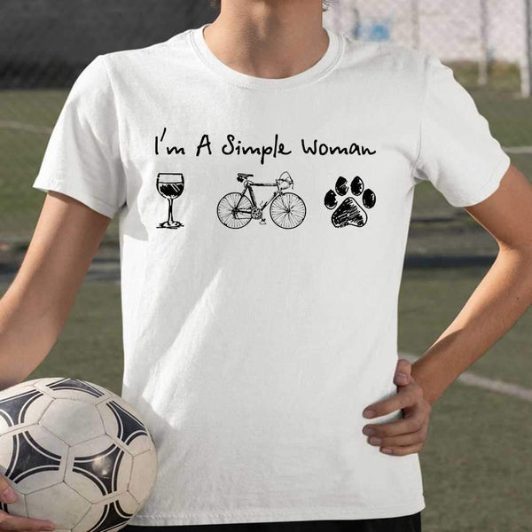 I'm A Simple Woman Wine Bicycle Dog Paw T-shirt S By AllezyShirt