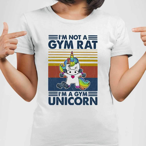 I'm Not A Gym Rat I'm A Gym Unicorn Fitness Vintage T-shirt M By AllezyShirt