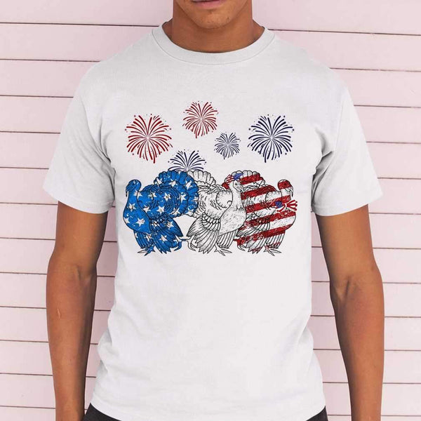 Independence Day Peacocks Wear Bow Tie Firework T-shirt M By AllezyShirt