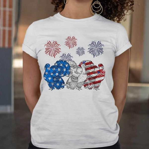 Independence Day Peacocks Wear Bow Tie Firework T-shirt S By AllezyShirt