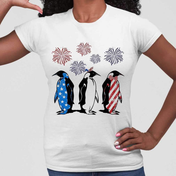 Independence Day Penguins Wear Bow Tie Firework T-shirt M By AllezyShirt