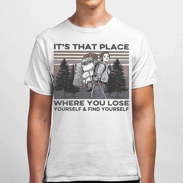 It's That Place Where You Lose Yourself And Find Yourself Hiking Vintage T-shirt M By AllezyShirt