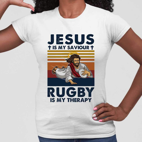 Jesus Is My Saviour Rugby Is My Therapy Vintage Retro T-shirt M By AllezyShirt