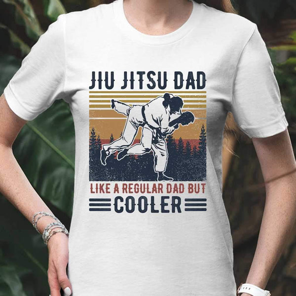 Jiu Jitsu Dad Like A Regular Dad But Cooler Happy Father's Day Vintage Retro T-shirt S By AllezyShirt