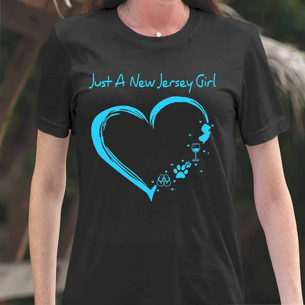 Just A New Jersey Girl Flip Flop Dog Paw Wine Colorful T-shirt M By AllezyShirt