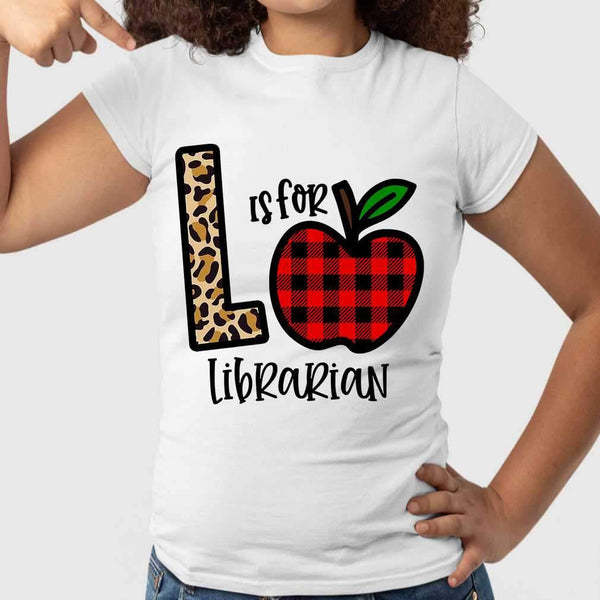 L Is For Librarian Apple Buffalo Plaid T-shirt S By AllezyShirt