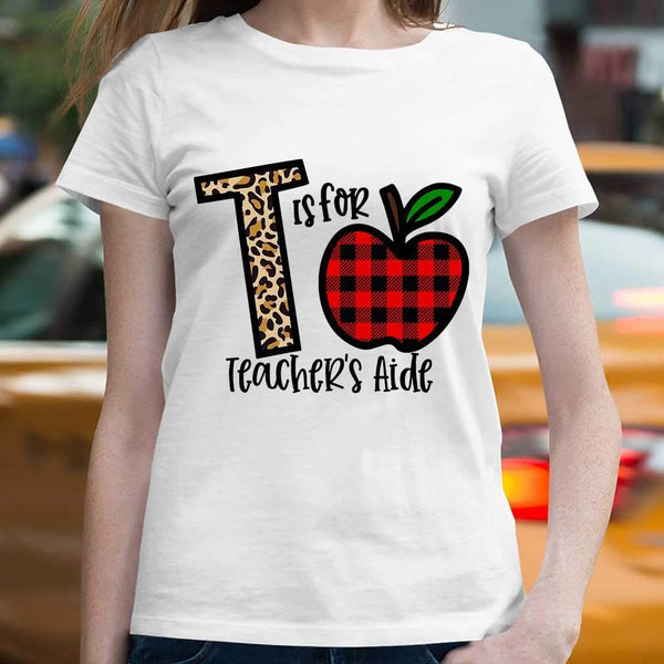 L Is For Teacher's Aide Apple Buffalo Plaid T-shirt S By AllezyShirt
