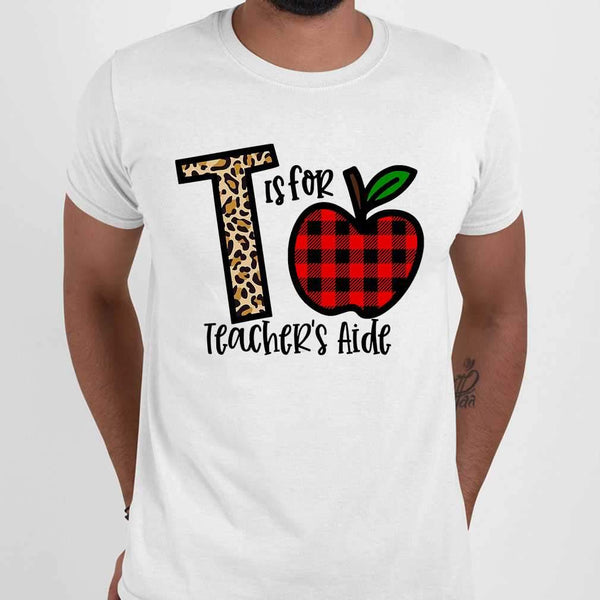 L Is For Teacher's Aide Apple Buffalo Plaid T-shirt M By AllezyShirt