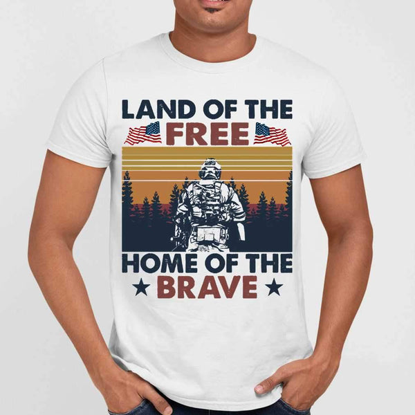 Land Of The Free Home Of The Brave Vintage T-shirt S By AllezyShirt