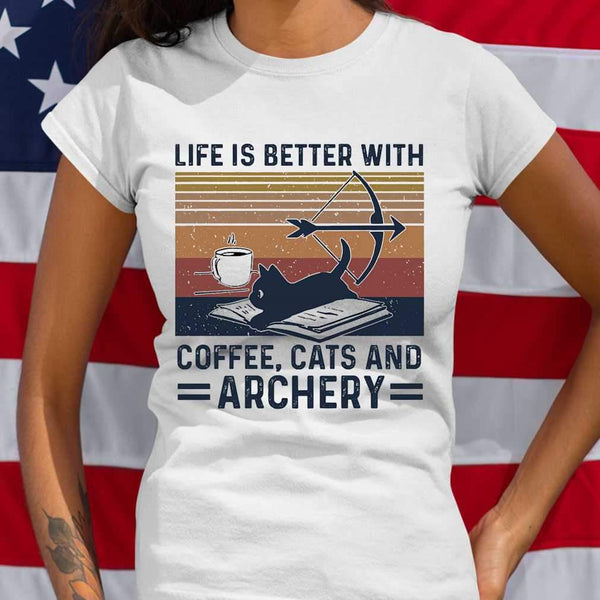 Life Is Better With Coffee Cats And Archery Vintage Retro T-shirt S By AllezyShirt