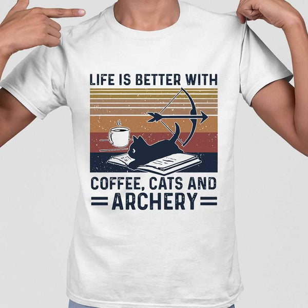 Life Is Better With Coffee Cats And Archery Vintage Retro T-shirt M By AllezyShirt