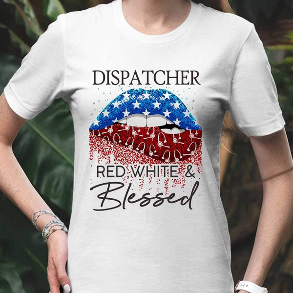 Lips Dispatcher Red White And Blessed American Flag Independence Day T-shirt S By AllezyShirt