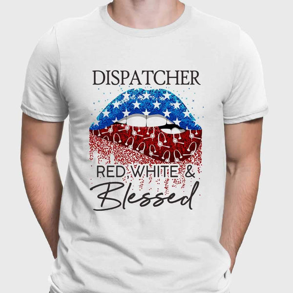 Lips Dispatcher Red White And Blessed American Flag Independence Day T-shirt M By AllezyShirt