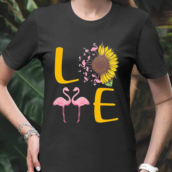 Love Flamingo Sunflower T-shirt S By AllezyShirt